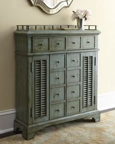 """""""Crosby""""+Chest+by+Ambella+at+Horchow. Add function and allure to your entryway or living space with this distressed blue cabinet, perfect for catching keys, mail, and more. Handcrafted of rubberwood with an """"antique blue"""" finish. Ambella """"Crosby"""" Chest Compare At:$1,497.00 Special Value:$799.00 HCF14_H61Q4"""