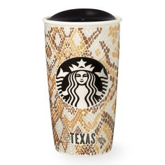 A double-walled, ceramic travel mug with a rattlesnake pattern celebrating the big, bold personality of Texas, part of the Starbucks Dot Local Collection.