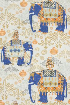 Charlotte Gaisford Wallpaper and Fabrics - Katie Considers Chinoiserie Wallpaper, Fabric Wallpaper, Pattern Wallpaper, Zen Doodle, Doodle Art, Conversational Prints, Indian Prints, Elephant Pattern, Animal Wallpaper