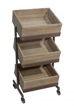 Tiered Wooden Tray On Wheels