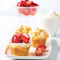 Taste Mag | Yoghurt muffins with warm sticky strawberry preserve @ https://taste.co.za/recipes/yoghurt-muffins-with-warm-sticky-strawberry-preserve/