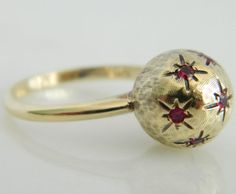 Beautiful Vintage 10K Gold & Ruby Unique Ball Ring by JsJewelers