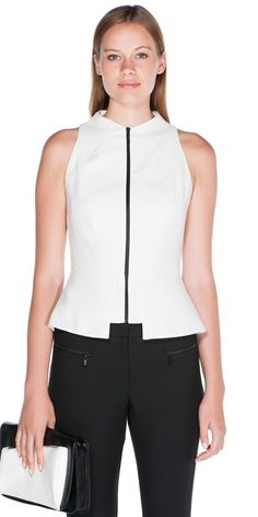 Twill Crepe Shaped Peplum Top in Off White (C30182). RRP $132.30.
