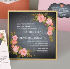 Chalkboard Rustic floral Invitation by MilanoInk on Etsy, $10.00