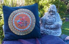 """Floral Chinese silk on cotton cushion cover 40 cm x 40 cm (15"""" x 15"""") - $40 NZD on Etsy - handmade by Hannah with love"""
