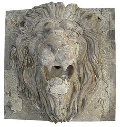 Water Spout Lion's Head 1 Material: Hand Carved Stone with an Etched Antique Finish