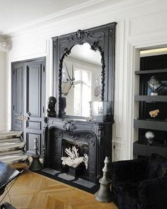 Weekend decorating idea: spruce up your fireplace mantle for Summertime — BLISSFUL LIVING X ASHLINA Weekend decorating idea: spruce up your fireplace mantle for Summertime — The Decorista Black Fireplace, Fireplace Mantle, Fireplace Design, Vintage Fireplace, Fireplace Ideas, Fireplace Moulding, Victorian Fireplace Mantels, Painted Fireplaces, Mantle Mirror