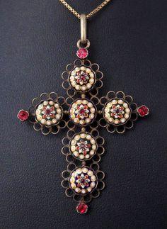 Très belle ancienne croix argent massif vermeil émaux Bressans bijou regional in Collections, Religion, ésotérisme, Objets de dévotion   eBay