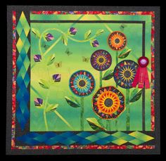 """2014 Quilt Expo Quilt Contest, Second Place, Category 10, Wall Quilts, Machine Quilted - Mixed or Other: Really """"Wild"""" Flowers!, Sharon L. Schlotzhauer, Monument, Col. www.quiltexpo.com"""