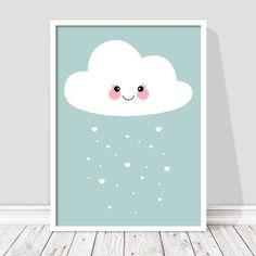c4a7906f1ff Poster με χαρούμενο συννεφάκι για παιδικό δωμάτιο. Παστέλ αποχρώσεις για  φωτεινά δωμάτια. #paidikesafises