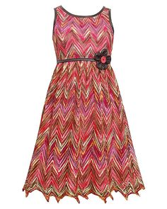 CHIC coral and brown sleeveless dress for your girl by Bonnie Jean. Perfect for special occasion. Your lovely daughter will love this. (sz. 7 - 16)