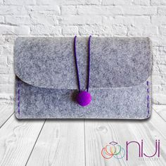Felt Clutch Bag Hand Bag Grey  Purple by NIJICOLLECTION on Etsy, $21.00