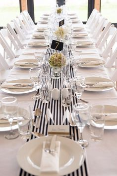 Stripe Stripy Table Cloth Runners Black White Stylish Modern Monochrome Village Hall Wedding http://www.sarareeve.com/