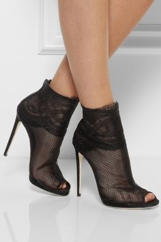 DOLCE & GABBANA Lace-trimmed net ankle boots