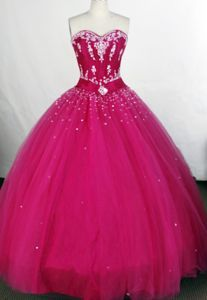 Beading and Applique Ball Gown Sweetheart Hot Pink Quinceanera Dress
