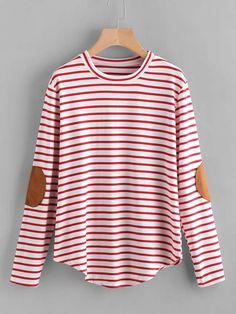Elbow Patch Striped T-shirt - $5.99