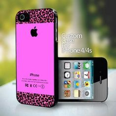 10738 Pink Leopard Print Aplle Pattern design for iPhone 4 or 4s case