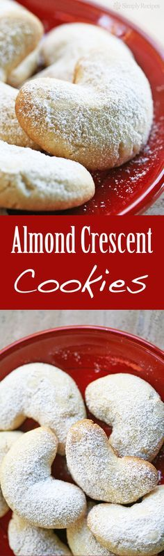 Almond Crescent Cookies ~ Little almond cookies shaped into crescents and dusted with powdered sugar. Great #Christmas cookie! On http://SimplyRecipes.com