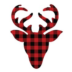 Plaid Deer - The Craft Patch - a Crafty Christmas - Red and Black Buffalo Check Deer Head - Plaid Christmas, Christmas Art, Christmas Projects, Christmas Shirts, Christmas Decorations, Christmas Holidays, Christmas Ornaments, Xmas, Hirsch Silhouette