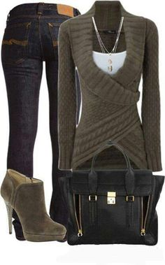 Wrap around sweater and jeans