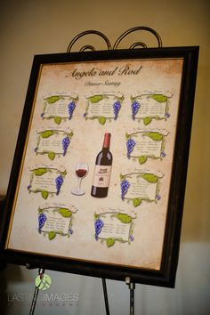 Wine inspired seating chart | Lasting Images Photography | villasiena.cc
