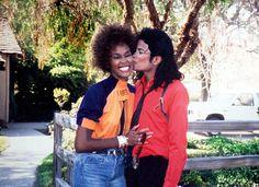"funkandsoulmusicblog: ""Whitney kissed by MJ at Neverland, c. 1989 """