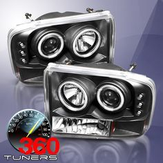 99-04 Ford F250 F350 Super-duty, 00-04 Excursion CCFL Halo Projector Headlights Ver.2 , with Xenon HID Lighting System - Pair (Black)