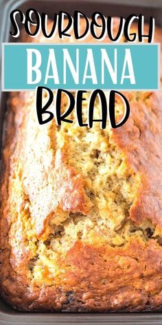 This banana bread recipe has a slight tang of sourdough and isn't overly sweet. It's mixed in one bowl, which means a nice healthy snack with fewer dishes to wash. #baking #sourdough #dessert Sourdough Banana Bread Recipe, Sourdough Starter Discard Recipe, Sourdough Recipes, Cooking Bread, Cooking Recipes, Banana Bread Recipes, Loaf Recipes, Healthy Banana Bread, Bread Machine Recipes