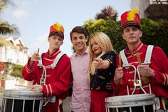 Cody Simpson, Tanner Zagarino, Alli Simpson and Justin Stirling pose for a photo in between takes.