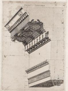 Labacco, Antonio (1495 - 1567) - Architectural Pediment Drawing