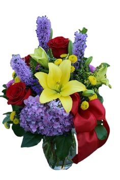 Red Roses, hydrangea and lilies in a colorful mixed flower arrangement by your local Riverside CA florist - Willow Branch Florist of Riverside