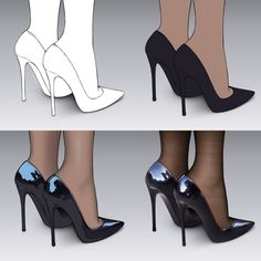 """""""How to Draw Shoes 👠"""" Digital Painting Tutorials, Digital Art Tutorial, Art Tutorials, Drawing Reference Poses, Drawing Skills, Sakimichan Tutorial, Drawing Clothes, Color Theory, Art Techniques"""