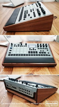 Walnut Lux Desk Stand for Elektron Analog Four / Analog Rytm mkII Studio Desk Music, Studio Setup, Computer Music, Computer Desks, Consoles, Recording Studio Design, Progressive House, Studio Gear, Drum Machine