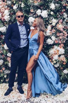 blue long prom dress with side slit show off your long legs