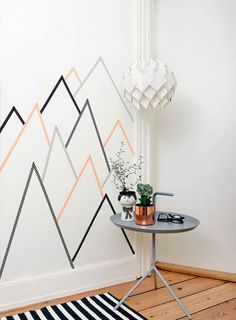 Cute and easy washi tape design to liven up the room. My grad cap said the mo Cute and easy washi ta Masking Tape Wall, Tape Wall Art, Washi Tape Diy, Tape Art, Diy Wall Art, Wall Decor, Room Decor, Diy Wand, Deco Tape
