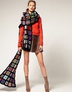 House of Holland Multi Colored Crochet Scarf - StyleSays
