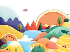 Can you see any fruit here by Haobin Guan Flat Design Illustration, Landscape Illustration, Children's Book Illustration, Digital Illustration, Character Illustration, Posca Art, Guache, Illustrations And Posters, Adobe Illustrator