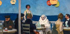 Edward Hopper, Soir Bleu (Blue Night), 1914, We can see two focal points one of them is the clown, sitting in white clothes and the second is a woman standing behind the sitting people. Hopper underlined her importance by placing her into another position then others.