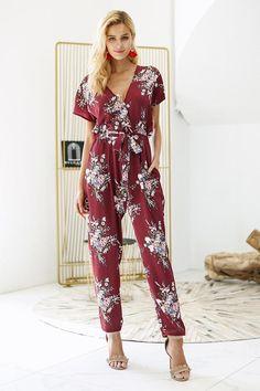 5d1b2433ab50 Vintage floral print boho jumpsuit romper V neck short sleeve casual  jumpsuit Loose sash summer jumpsuit women overalls