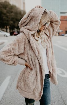 nude shade fur hoodie to layer with a sweater or anything you want
