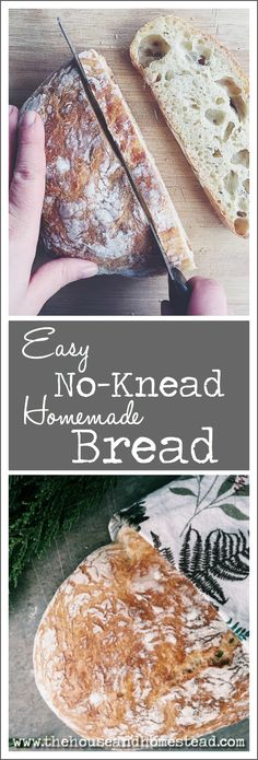 This easy no-knead homemade bread requires just a few simple ingredients a little bit of time and practically zero effort. An artisan-style bread that costs just pennies per loaf and rivals store-bought bread! Bread Recipes, Baking Recipes, Whole Food Recipes, Family Recipes, Casserole Recipes, Frugal Meals, Easy Meals, How To Make Bread, Quick Bread