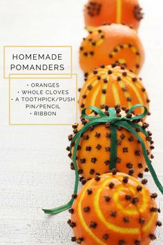 A historic tradition, citrus fruits can be made into holiday decorations with the addition with simple cloves — and the combination smells divine. Christmas Colors, Merry Little Christmas, All Things Christmas, Christmas Time, Christmas Oranges, Holiday Time, Christmas 2016, Family Crafts, Christmas Crafts