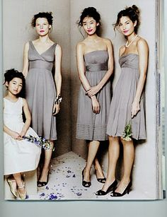 bridesmaids dresses, another grey color.  like how the one is different that all the others.  you  could do that for your MOH