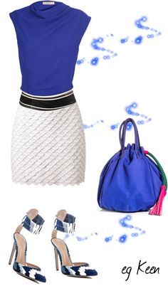 """""""Work Outfit (blue, white)"""" by eg-keen ❤ liked on Polyvore"""