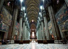 Milan Cathedral Interior = The Gothic cathedral took nearly six centuries to complete. It is the fifth largest cathedral in the world