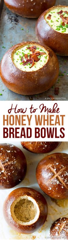 Honey Wheat Bread Bowl Recipe – Learn How to Make Bread Bowls with this easy recipe. Gorgeous glazed bread bowls with a sweet wheaty flavor. Soup Recipes, Cooking Recipes, Recipies, Cooking Bacon, Cooking Games, Cooking Classes, Honey Wheat Bread, Bread Bowls, Bread Baking