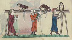 FRÉDÉRIC II , traité de fauconnerie , traduction française, faite à la demande de Jean, sieur de Dampierre et de Saint-Dizier, et de sa fille Isabelle.  Date d'édition :  1201-1300  Français 12400  Folio 153r