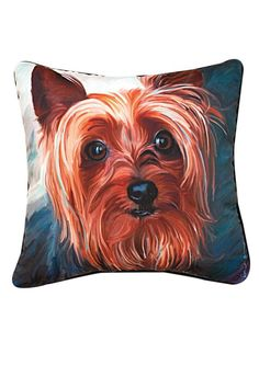 """Yorkie Style Square Throw Pillow features famous painting """"Yorkie Style"""" by Robert McClintock.Recommended for indoor and outdoor use. Woven on jacquard looms.  Measures: 18"""" x 18""""  Yorkie Pillow by Manual Woodworkers and Weavers. Home & Gifts - Home Decor - Pillows & Throws Oregon"""