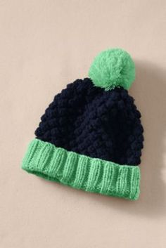 Women's Chunky Knit Pom-Pom Hat from Lands' End Canvas