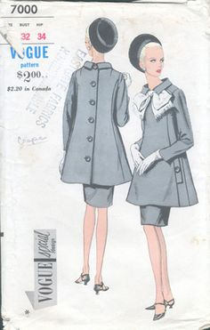 Striking Ultra Mod Suit Pattern High Fitted Shaped Princess Seam Tunic Jacket, Slim Darted Skirt Vogue Special Design 7000 Vintage Sewing Pattern Bust 31 -Authentic vintage sewing patterns: This is a fabulous original dress making pattern, not Moda Vintage, Vintage Mode, Retro Outfits, Vintage Outfits, Retro Fashion, Vintage Fashion, Steampunk Fashion, Gothic Fashion, Vetements Clothing